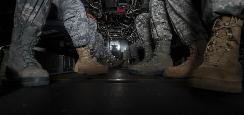 Junior ROTC cadets prepare for a familiarization flight on an 8th Special Operations Squadron CV-22 Osprey tiltrotor aircraft at Hurlburt Field, Fla., June 27, 2017. More than 55 JROTC cadets from nearby high schools flew in a CV-22 and a 15th SOS MC-130H Combat Talon II as part of a JROTC familiarization flight. (U.S. Air Force photo by Airman 1st Class Joseph Pick)