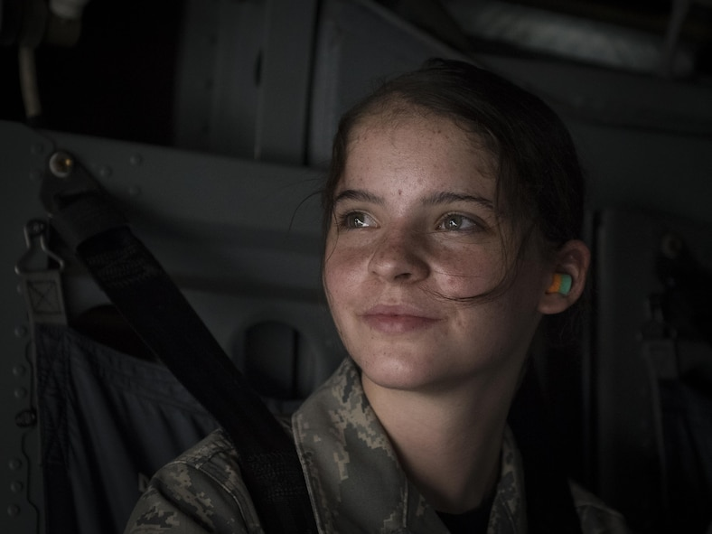A Junior ROTC cadet scans the sky during an 8th Special Operations Squadron CV-22 Osprey tiltrotor aircraft flight above northwest Florida, June 27, 2017. More than 55 JROTC cadets from nearby high schools flew in a CV-22 and a 15th SOS MC-130H Combat Talon II as part of a JROTC familiarization flight. (U.S. Air Force photo by Airman 1st Class Joseph Pick)
