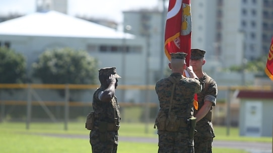 Col. Christopher A. Feyedelem passes the regimental colors at the 3rd Marine Logistics Group Headquarters Regiment change of command ceremony, June 28, 2017, on Camp Kinser, Okinawa, Japan. Since July 2015, Feyedelem, a Norwalk, Ohio native, has served as the regimental commanding officer as well as the camp commander for Camp Kinser. His responsibilities not only entailed taking care of his Marines, but also developing relationships and working closely with the local community of Urasoe City. He will next be serving as the Chief of Staff for Marine Corps Logistics Command in Albany, Georgia. (U.S. Marine Corps video by Sgt. Kathy Nunez)