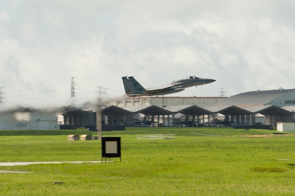 A U.S. Air Force 44th Fighter Squadron F-15 Eagle takes off from Kadena Air Base, June 22, 2017.  Kadena Air Base is the hub of airpower in the Pacific and is the home to the 18th Wing, the U.S. Air Force's largest combat wing. (U.S. Air Force photo/ Airman 1st Class Greg Erwin)