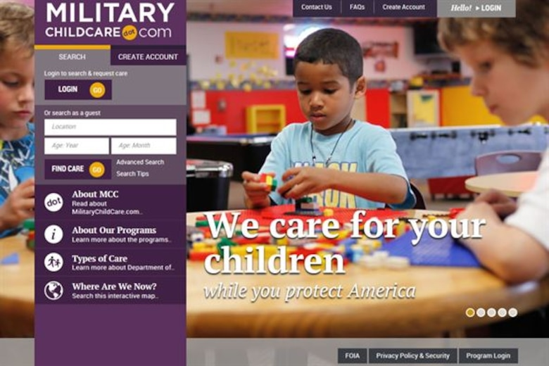 A new Defense Department website, www.militarychildcare.com, is helping ease those moving transitions by simplifying the search and registration process for child care. (Courtesy graphic)