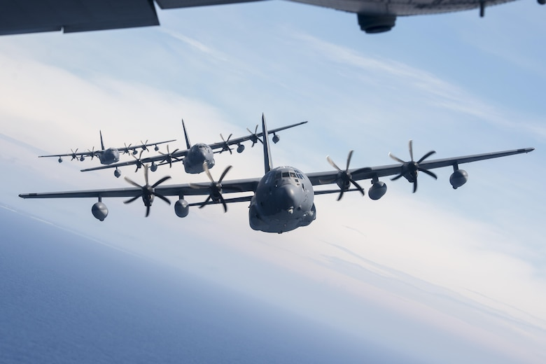 U.S. Air Force MC-130J Commando IIs from the 17th Special Operations Squadron line up in a five-aircraft formation June 22, 2017 off the coast of Okinawa, Japan, during a mass launch training mission. The MC-130J Commando II is a multi-mission combat transport/special operations tanker capable of delivering a payload of 42,000 pounds. (U.S. Air Force photo by Senior Airman John Linzmeier)