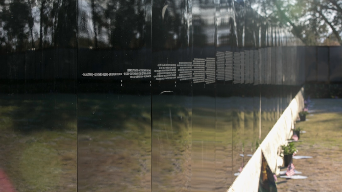 The city of Desert Hot Springs hosted the Moving Vietnam Veterans Memorial Wall at Mission Springs Park in Desert Hot Springs, Calif., June 22 through June 26, 2017. The Moving Wall, a scale model of the original Vietnam Veterans Memorial Wall, has the names of those men and women who were killed or missing in action etched onto a reflective stone, so visitors can not only see the names, but see themselves, reflecting on the lives of the people who fought and died to keep them safe. (U.S. Marine Corps photo by Cpl. Dave Flores)