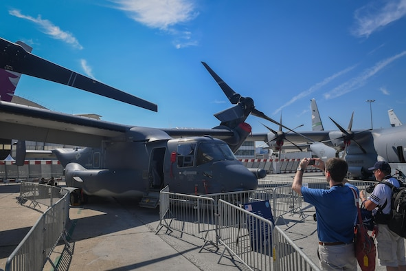 A CV-22 Osprey from the 352nd Special Operations Wing, Royal Air Force Mildenhall, is displayed in the U.S. corral at the Paris Air Show June 20, 2017 at Le Bourget, France. The CV-22 attended the show as a part of continued effort to showcase special operations capability and to engage with our partner nations on an international stage. (U.S. Air Force photo/ Tech. Sgt. Ryan Crane)