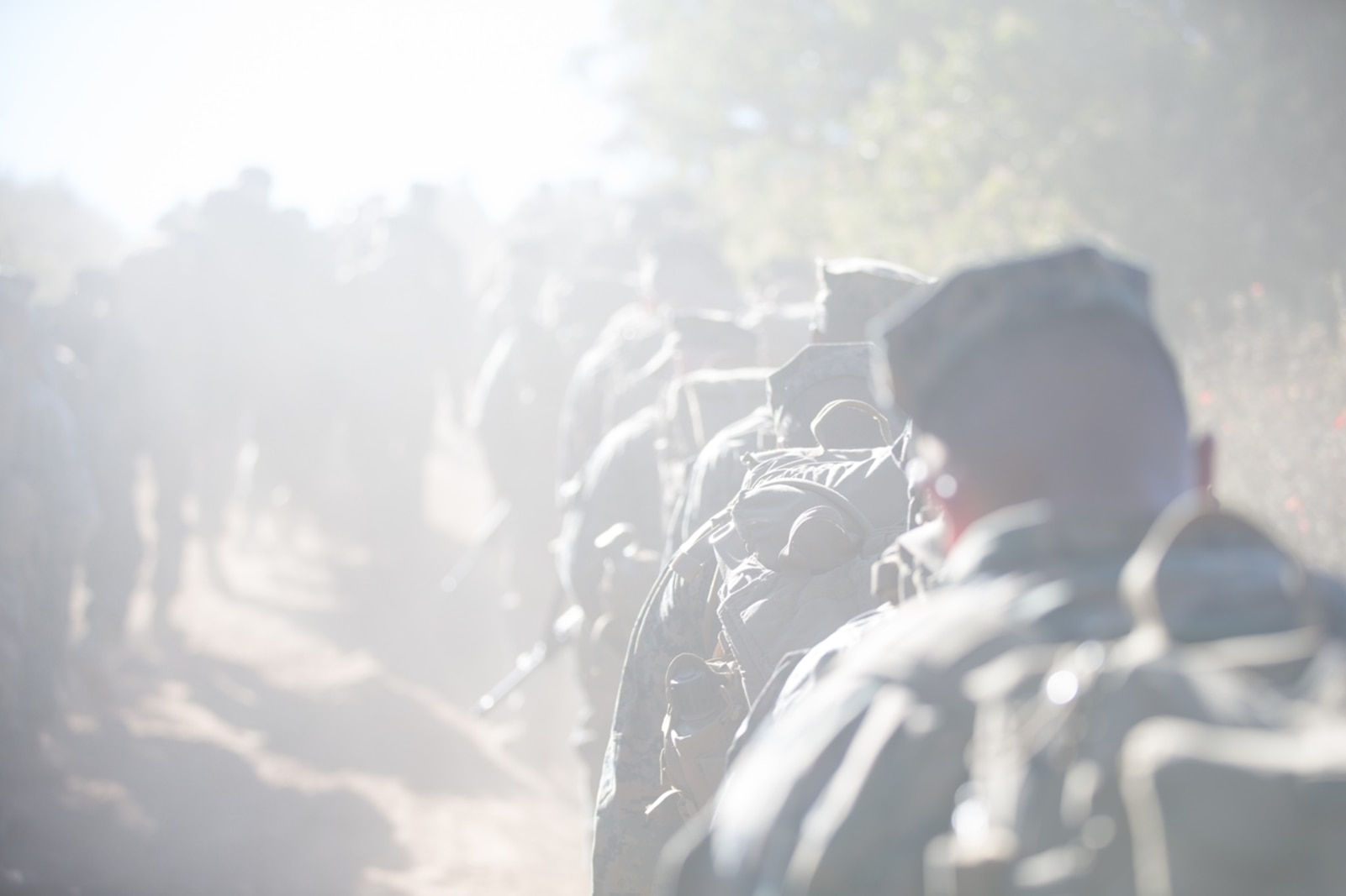 U.S. Marines and Sailors with Combat Logistics Battalion 5, Combat Logistics Regiment 1, 1st Marine Logistics Group participate in a seven mile conditioning hike on Camp Pendleton, Calif., June 27, 2017. The Marines have multiple conditioning hikes to prepare for Mountain Exercise 4-17 which will be conducted at the Marine Corps Mountain Warfare Training Center in Bridgeport, Calif. (U.S. Marine Corps photo by Lance Cpl. Timothy Shoemaker)