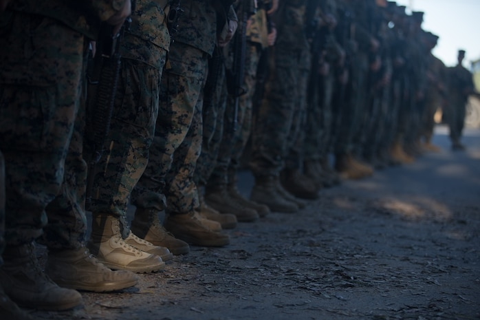 U.S. Marines and Sailors with Combat Logistics Battalion 5, Combat Logistics Regiment 1, 1st Marine Logistics Group prepare to participate in a seven mile conditioning hike on Camp Pendleton, Calif., June 27, 2017. The Marines have multiple conditioning hikes to prepare for Mountain Exercise 4-17 which will be conducted at the Marine Corps Mountain Warfare Training Center in Bridgeport, Calif. (U.S. Marine Corps photo by Lance Cpl. Timothy Shoemaker)