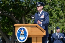 Col. Shawn Campbell speaks after taking command of the 10th Air Base Wing June 20, 2017, at the U.S. Air Force Academy. (U.S. Air Force photo/Darcie Ibidapo)