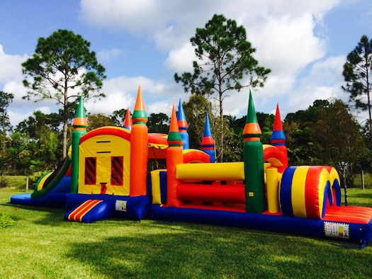 A bouncy house sits ready for use for children. The 49th Wing Safety office recommends following all bouncy house safety procedures when using a bouncy house. (Courtesy photo)
