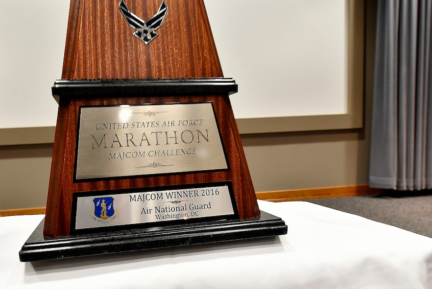 WRIGHT-PATTERSON AIR FORCE BASE, Ohio – A close-up view of the 2016 Air Force Marathon MAJCOM Challenge trophy presented to the Air National Guard team June 27, 2017, during the annual CORONA Top conference held at Headquarters Air Force Materiel Command. The presentation took place before a crowd of the Air Force's senior leadership gathered here for a series of top-level meetings. The MAJCOM Challenge serves as a friendly service-wide competition that challenges each major command to encourage its respective Airmen to participate in the annual race. This year's 21st annual Air Force Marathon is scheduled for Sept. 16, 2017. (U.S. Air Force photo/Scott M. Ash)