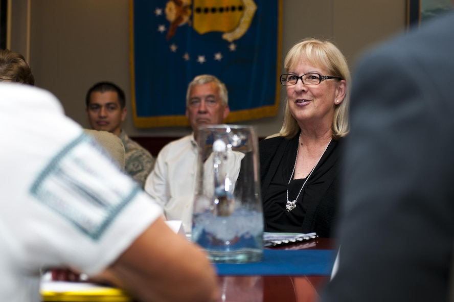 Barbara Koscak, STARBASE, talks during a meeting on STARBASE in the Wing Conference Room in the Norma Brown building on Goodfellow Air Force Base, Texas, June 17, 2017. The military volunteer teachers will apply abstract principles to real world situations by leading tours and giving lectures on the use of STEM in different settings and careers. Since the STARBASE academies are located in different branches of the military this experience is highly varied. (U.S. Air Force photo by Senior Airman Scott Jackson/Released)