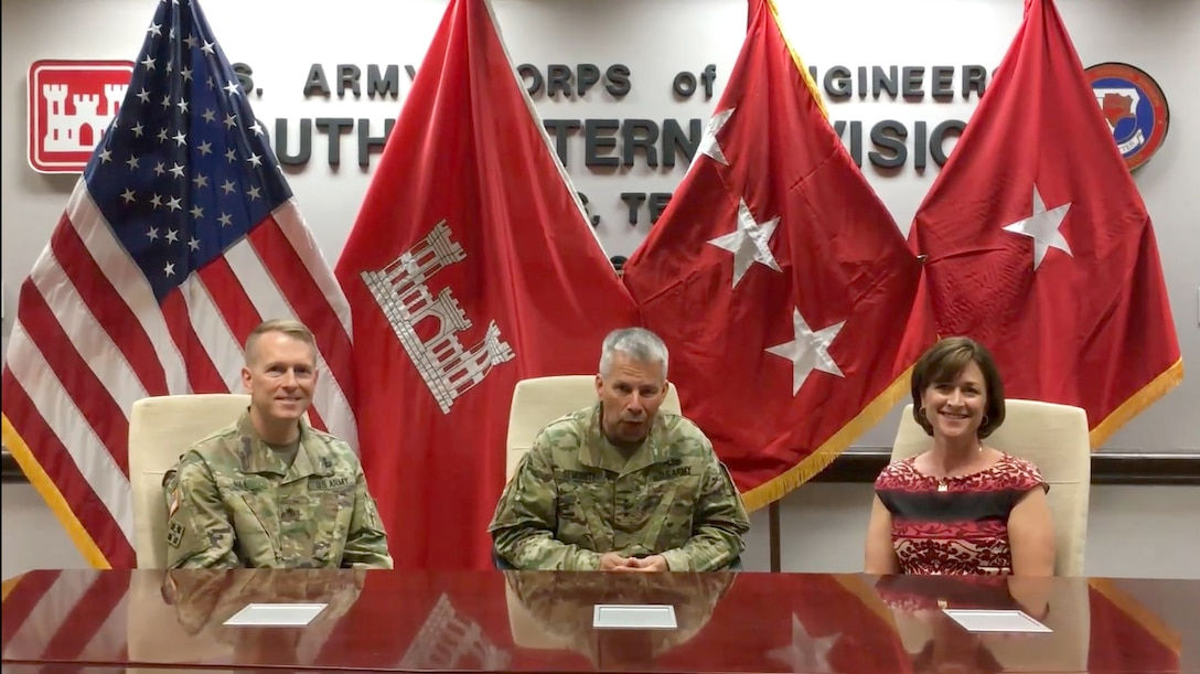 Lt. Gen. Todd Semonite reports from Dallas, Texas, prior to the Southwestern Division Change of Command, with Brig. Gen. David Hill and his wife, Chris Hill, on June 29, 2017.