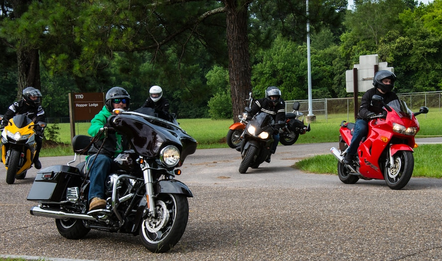 Airmen from Maxwell Air Force Base, Ala. ride their motorcycles, during Motorcycle Safety Day, June 27, 2017. Riders of all skill levels attended the safety day to collaborate with one another on how to become better and safer riders, by learning new techniques and sharing their own experiences.  (US Air Force photo/Melanie Rodgers Cox/Released)