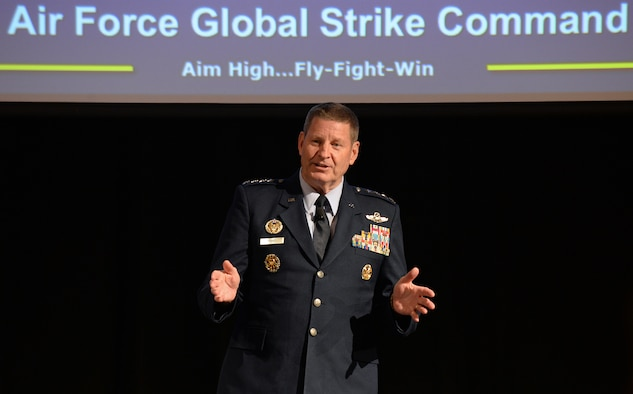 Gen. Robin Rand, Commander, Air Force Global Strike Command, addresses attendees as the last speaker during the Focus on Defense Symposium June 21 at the Eccles Center in Ogden, Utah. The symposium focused on how industry partners and government leaders view and respond to nuclear triad agile sustainment and life cycle logistics support in today's environment.  (U.S. Air Force/Alex R. Lloyd)