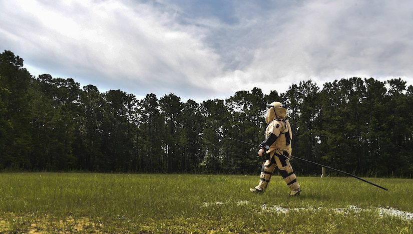 Senior Airman Dylan Babb, 628th Civil Engineer Squadron explosive ordnance disposal technician, walks in a bomb suit during an EOD training exercise, June 27, 2017. EOD trains consistently to sharpen their skills and readiness.
