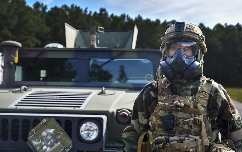 Staff Sgt. Adam Hickman, 628th Civil Engineer Squadron explosive ordnance disposal technician, waits for his team members to join him at a Humvee during a training exercise, June 28, 2017. More than 230 topics were exercised during the training operation.