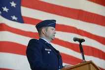 Col. Scott J. Nahrgang, 548th Intelligence, Surveillance and Reconnaissance Group commander, gives a speech during the 548th ISRG change of command at Beale Air Force Base, Calif., June 26, 2017. The mission of the 548th ISRG is to deliver combat power from the air with intelligence that assures Allies and wins wars. (U.S. Air Force photo by Airman 1st Class Andrew Moore/Released)