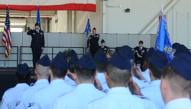 Col. Scott J. Nahrgang, 548th Intelligence, Surveillance, and Reconnaissance Group incoming commander, delivers his first salute to the 548th ISR G June 26, 2017, at Beale Air Force Base, Calif. The change of command ceremony represents the formal passing of responsibility, authority and accountability of command from one officer to another. (U.S. Air Force photo/Airman 1st Class Douglas P. Lorance)
