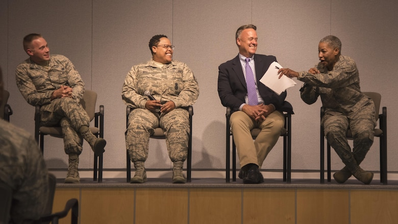Four service members talk about their experience of being gay in the military during a Lesbian, Gay, Bisexual and Transgender Pride Month special observance panel discussion at Joint Base Andrews, Md., June 29, 2017. The LGBT Month observance goal was to educate the community and encourage a supportive, safe and respectful work environment for all service members, regardless of sexual orientation or gender identity. (U.S. Air Force photo by Airman 1st Class Valentina Lopez)