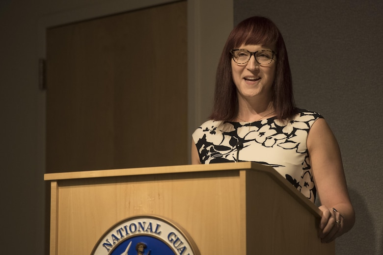Allyson Robinson, human rights activist, speaks during a Lesbian, Gay, Bisexual and Transgender Pride Month special observance titled 'LGBT: I am an American Airman' at Joint Base Andrews, Md., June 29, 2017. Robinson talked about her life as a military member and her journey during her transition from male to female. (U.S. Air Force photo by Airman 1st Class Valentina Lopez)