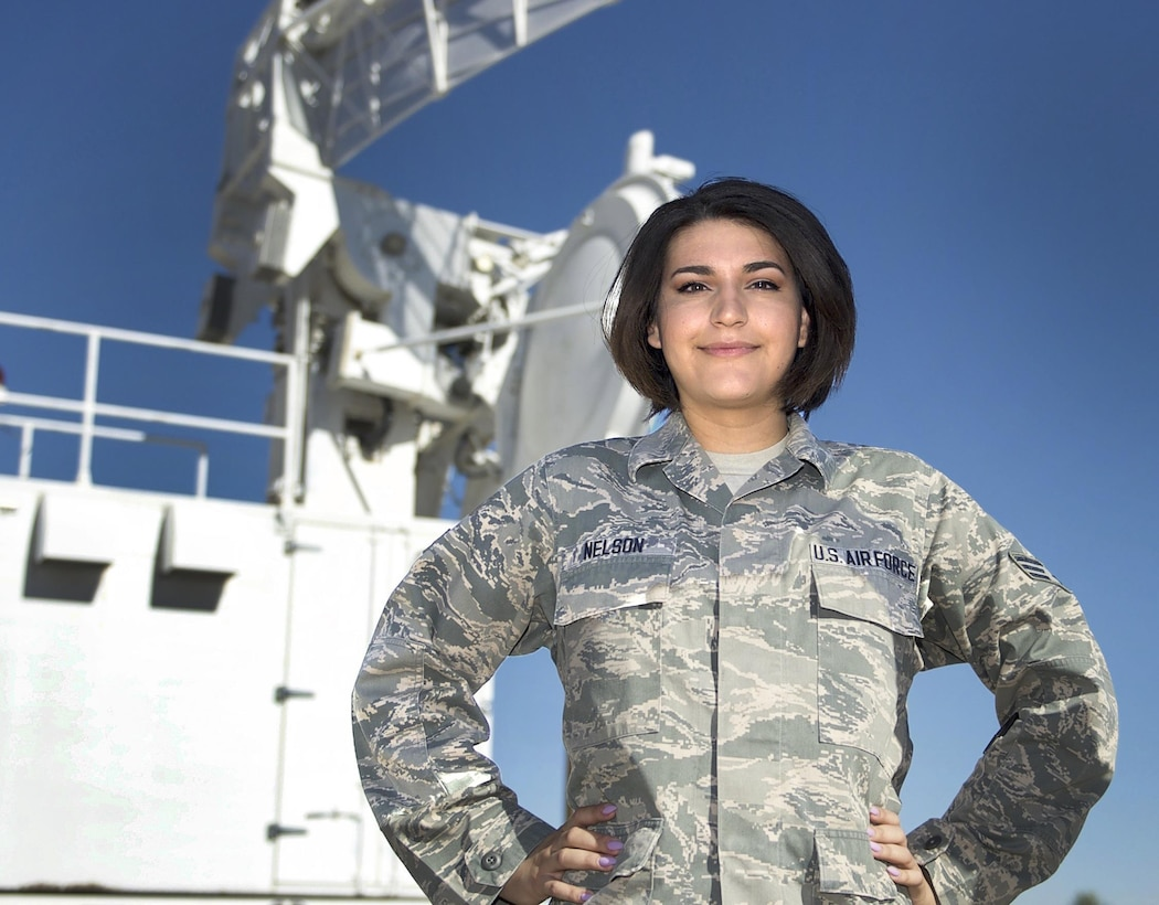 Senior Airman Irene Nelson, 57th Operations Support Squadron air traffic controller, Nellis Air Force Base, Nev., poses for a portrait outside the headquarters of the Nevada Test and Training Range June 29, 2017. Nelson became the first Airman in Air Combat Command to have a gender transition recognized in official military records in February 2017. (U.S. Air Force photo by Staff Sgt. Kristin High/Released)