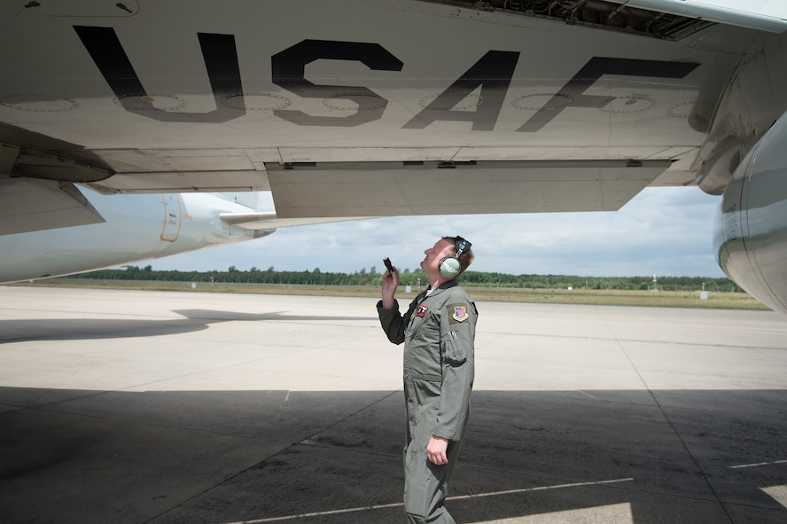 Staff Sgt. Jesse Egert, a flight engineer assigned to the 970th Airborne Air Control Squadron, performs a pre-flight inspection of an E-3 Sentry Airborne Warning and Control System aircraft June 12, 2017, at NATO Air Base Geilenkirchen, Germany, prior to a mission supporting the BALTOPS 2017 exercise. The E-3 Sentry and nearly 100 Reservists from the 513th Air Control Group are deployed in support of BALTOPS 2017, which is the first time a U.S. E-3 Sentry has supported a NATO exercise in 20 years. (U.S. Air Force photo/2nd Lt. Caleb Wanzer)
