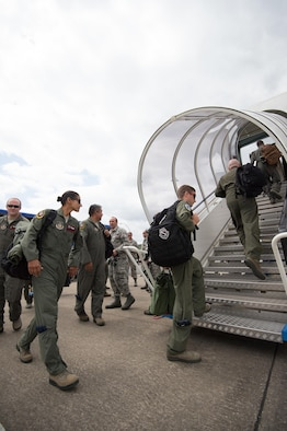 Aircrew reservists assigned to the 513th Air Control Group board an E-3 Sentry Airborne Warning and Control System aircraft June 12, 2017, at NATO Air Base Geilenkirchen, Germany, prior to a mission supporting the BALTOPS 2017 exercise. The E-3 Sentry and nearly 100 Reservists from the 513th are deployed in support of BALTOPS 2017, which is the first time a U.S. E-3 Sentry has supported a NATO exercise in 20 years. (U.S. Air Force photo/2nd Lt. Caleb Wanzer)