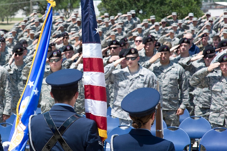 Members of the Joint Base San Antonio Honor Guard present the colors during the Tactical Air Control Party Memorial Rededication Ceremony outside the 353rd Battlefield Airmen Training Squadron at the JBSA-Lackland Medina Annex June 23, 2017. The TACP mission is to defeat the enemy through the use of airpower while protecting ground forces and non-combatants from the effects of friendly air to ground attacks.