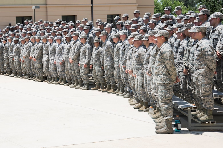 Tactical Air Control Party candidates at the 353rd Battlefield Airmen Training Squadron attend the TACP Memorial Rededication Ceremony outside the 353rd BATS at the Joint Base San Antonio-Lackland Medina Annex June 23, 2017. The memorial serves as a solemn reminder of the incredible responsibility that students assume when they graduate as a TACP member.