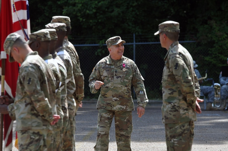 U.S. Army Reserve Command Sgt. Maj. Richard E. Castelveter, the outgoing senior enlisted adviser of the 412th Theater Engineer Command, makes a few final comments to the Command Headquarters and Headquarters Company Soldiers during a Change of Responsibility and retirement ceremony at the George Morris Army Reserve Center in Vicksburg, Miss., June 10, 2017. Command Sgt. Maj. Dennis E. Law relieved Castelveter who retired after serving more than 35 years of honorable service. (U.S. Army Reserve Photo by Sgt. 1st Class Clinton Wood)