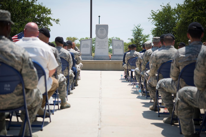 The Tactical Air Control Party Reunion Memorial outside the 353rd Battlefield Airmen Training Squadron at the Joint Base San Antonio-Lackland Medina Annex is rededicated June 23, 2017. The ceremony was held to pay special tribute to those who have paid the ultimate sacrifice while serving as a part of TACP or in direct support of those who do.