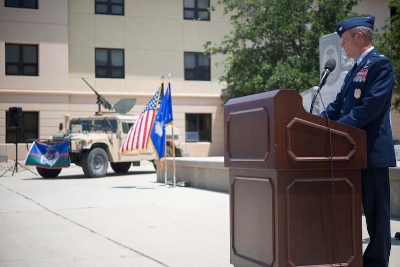 Retired Air Force Col. Peter Donnely delivers a speech during the Tactical Air Control Party Memorial Rededication Ceremony outside the 353rd Battlefield Airmen Training Squadron at the Joint Base San Antonio-Lackland Medina Annex June 23, 2017. Donnely accumulated nearly nine years in leadership positions within the 18th Air Support Operations Group and led TACP members supporting operations Enduring and Iraqi Freedom as Expeditionary Air Support Operations Group commander.