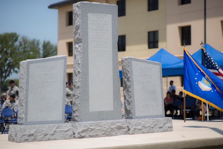 The backside of the Tactical Air Control Party Reunion Memorial, where the names of fallen TACPs are etched, is pictured outside the 353rd Battlefield Airmen Training Squadron at the Joint Base San Antonio-Lackland Medina Annex. June 23, 2017. Since their creation, TACPs have always answered duty's call and have been involved in every major military operation involving United States forces.