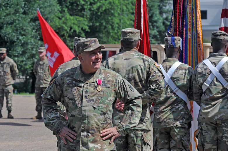 U.S. Army Reserve Command Sgt. Maj. Richard E. Castelveter, the outgoing senior enlisted adviser of the 412th Theater Engineer Command, makes a few final comments to the Command Headquarters and Headquarters Company Soldiers during a Change of Responsibility and retirement ceremony at the George Morris Army Reserve Center in Vicksburg, Miss., June 10, 2017. Castelveter retired after serving more than 35 years of honorable service. (U.S. Army Reserve Photo by Sgt. 1st Class Clinton Wood)