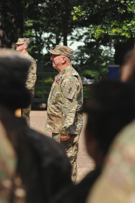 U.S. Army Reserve Command Sgt. Maj. Richard E. Castelveter stands in front of the Soldiers of the Headquarters and Headquarters Company, 412th Theater Engineer Company, for the last time during a Change of Responsibility and retirement ceremony at the George A. Morris U.S. Army Reserve Center in Vicksburg, Miss., June 10, 2017. Castelveter retired after more than 35 years of honorable service. Command Sgt. Maj. Dennis E. Law was named as his replacement. (U.S. Army Reserve Photo by Sgt. 1st Class Clinton Wood)