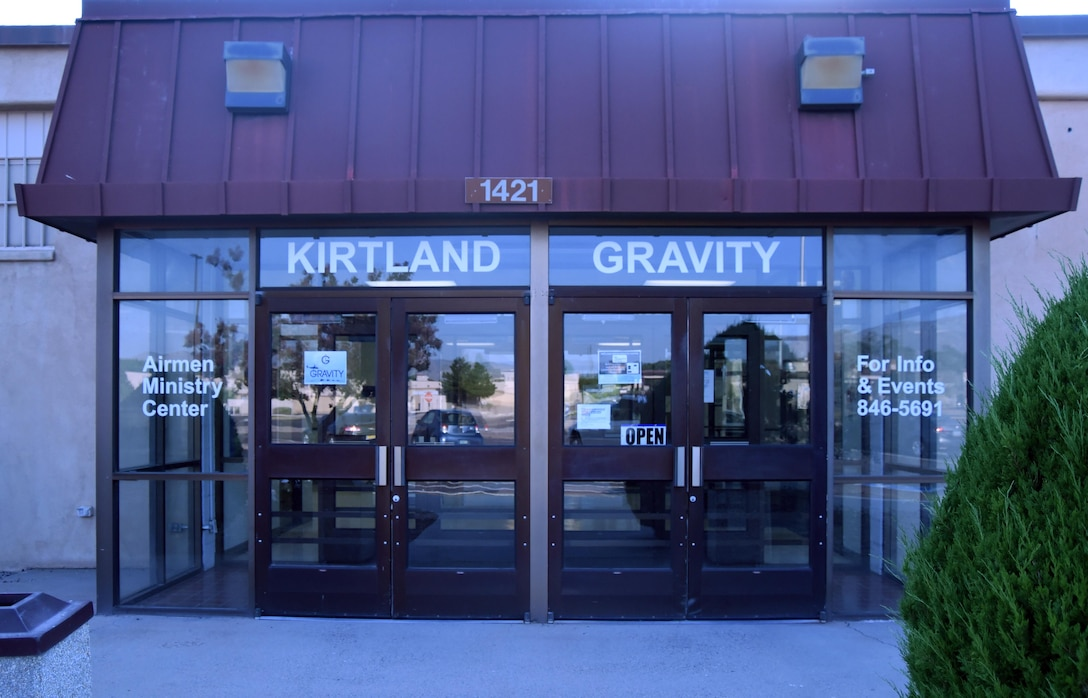 The Entrance to the Gravity Airman Ministry Center at Kirtland Air Force Base, New Mexico. Gravity is a place airmen can hang out without the influence of alcohol or drugs. Airmen can relax, hang out, and develop new and existing friendships (U.S. Air Force Photo by Senior Airman Chandler Baker)