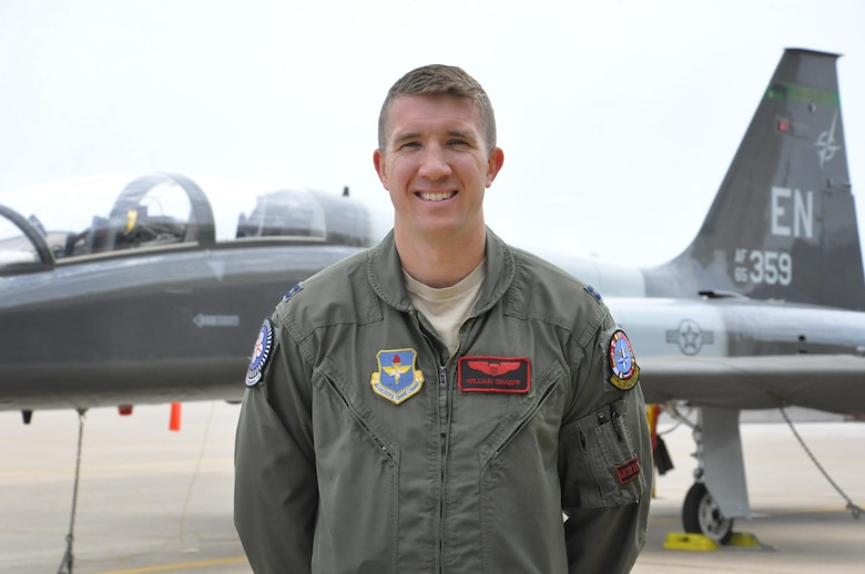"""Euro-NATO Joint Jet Pilot Training program's Capt. Will """"Boar"""" Graeff, 88th Flying Training Squadron executive officer, is selected to be Thunderbird 2 for the U.S. Air Force Aerial Demonstration Squadron for the 2018-2019 showseasons. As a Thunderbird, Graeff will be traveling approximately 200 days out of the year for two years, performing and executing maneuvers exhibiting the capabilities of the Air Force's high-performance aircraft and the degree of skill required to operate them. He will demonstrate to spectators the abilities of the F-16 Fighting Falcon with maneuvers like the Diamond, a legendary formation used by the team where Thunderbirds 1-4 fly their aircraft as close as 18 inches apart at speeds of roughly 500 miles per hour. (U.S. Air Force photo by 2nd Lt. Brittany Curry)"""