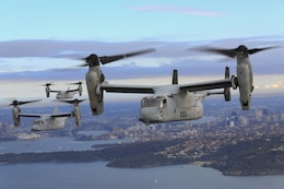 A set of MV-22B Osprey tiltrotor aircraft fly in formation above the Pacific Ocean off the coast of Sydney, Australia, June 29, 2017. The MV-22Bs belong to Marine Medium Tiltrotor Squadron 265 (Reinforced). VMM-265 (Rein.) is part of the Aviation Combat Element of the 31st Marine Expeditionary Unit. The 31st MEU and the Bonhomme Richard Expeditionary Strike Group arrived in Sydney after transiting south across the vast Pacific Ocean, from Okinawa, Japan, to southeastern Australia in just over three weeks. Sydney is a favorite port stop for both Marines and Sailors crossing the Pacific. The 31st MEU partners with the Navy's Amphibious Squadron 11 to form the amphibious component of the Bonhomme Richard Expeditionary Strike Group. The 31st MEU and PHIBRON 11 combine to provide a cohesive blue-green team capable of accomplishing a variety of missions across the Indo-Asia-Pacific region.