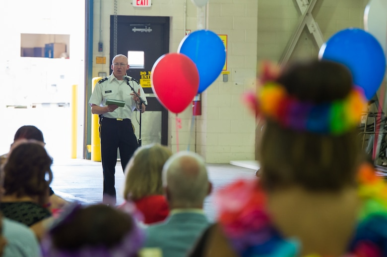 Wyoming Adjutant General Maj. Gen. K. Luke Reiner speaks during Diversity Day at the Wyoming National Guard's 153rd Airlift Wing. Volunteers provided a variety of cuisine as well as dancing at the celebration. A myriad of displays highlighted the diversity of culture within the Wyoming Military Department as well as the nation. (U.S. Air National Guard photo/Senior Master Sgt. Charles Delano)