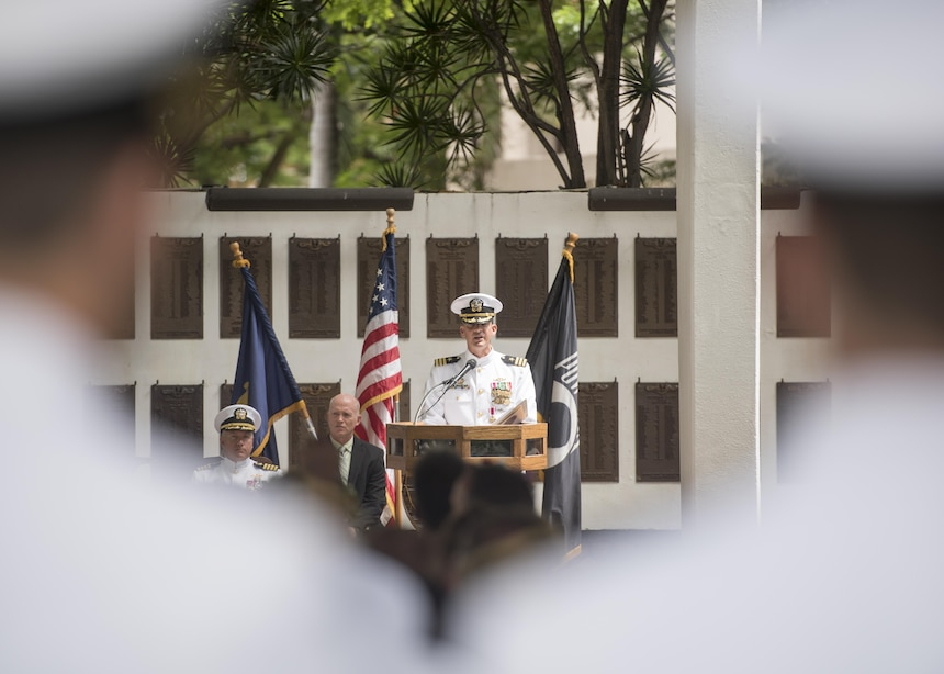 170630-N-LY160-0201 PEARL HARBOR (June 30, 2017) - Cmdr. Gabriel A. Answeeuw, commanding officer, Los Angeles-class fast-attack submarine USS Greeneville (SSN 772), addresses guests during a change of command ceremony at the USS Parche Submarine Park and Memorial in Joint Base Pearl Harbor-Hickam. (U.S. Navy photo by Mass Communication Specialist 2nd Class Michael Lee/Released)