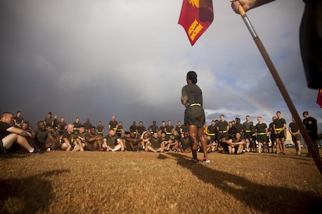Lt. Col. Marshalee E. Clarke, the commanding officer of Headquarters Battalion, addresses Marines and Sailors of the battalion after a motivational run aboard Marine Corps Base Hawaii on June 30, 2017. The battalion conducted the motivational run to build unit cohesion and boost morale amongst the battalion. (U.S. Marine Corps photo by Lance Cpl. Matthew Kirk)