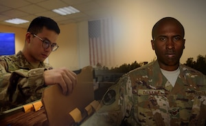 Two Airmen, who are deployed to Kandahar Airfield, Afghanistan, as part of the 451st Expeditionary Support Squadron, are emblematic of the diverse force. Staff Sgt. Nana Dankwa and Airman 1st Class Yongqin Li did not grow up in the United States. They emigrated from their respective countries and gained citizenship while serving in the U.S. Air Force. (U.S. Air Force photo illustration by Staff Sgt. Benjamin Gonsier)