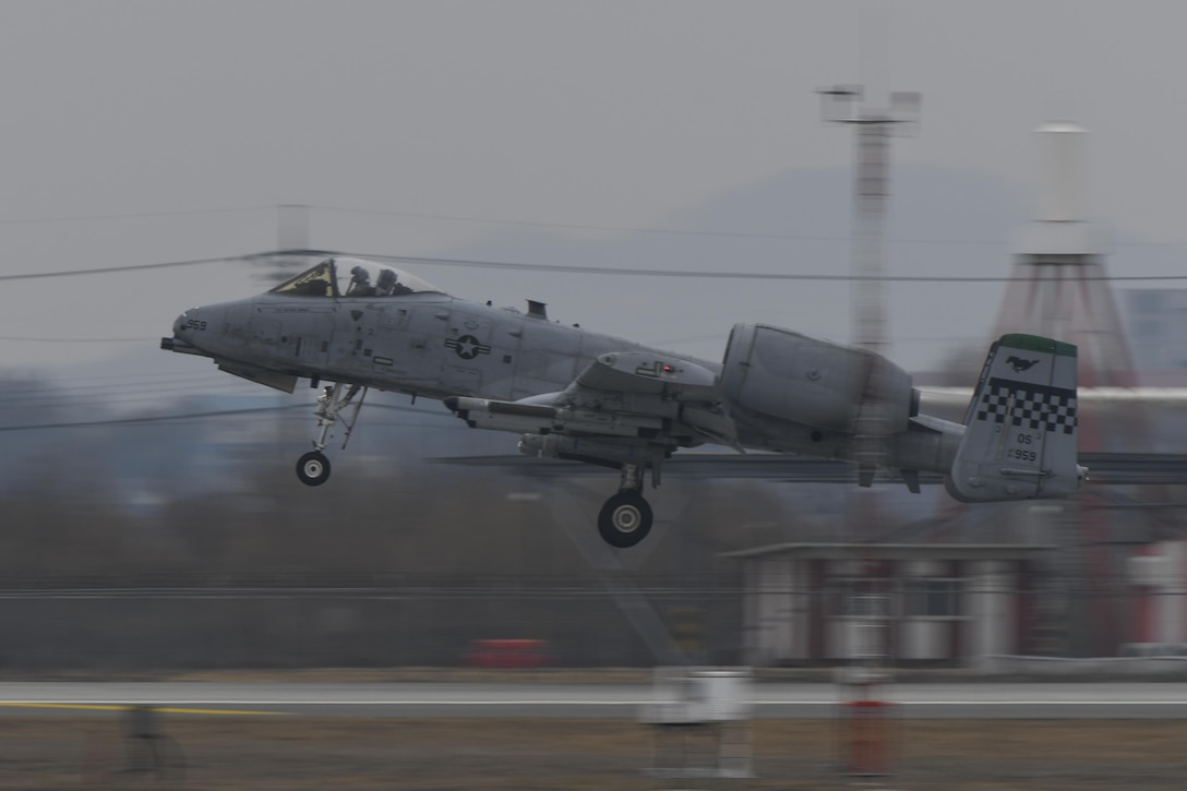 An A-10 Thunderbolt II assigned to the 25th Fighter Squadron takes off for a training mission during Exercise Beverly Herd 17-1 at Osan Air Base, Republic of Korea, March 1, 2017. Exercises like Beverly Herd allow the 51st Fighter Wing to work out the muscle movements required to execute and sustain combat operations in the ROK. (U.S. Air Force photo by Staff Sgt. Victor J. Caputo)