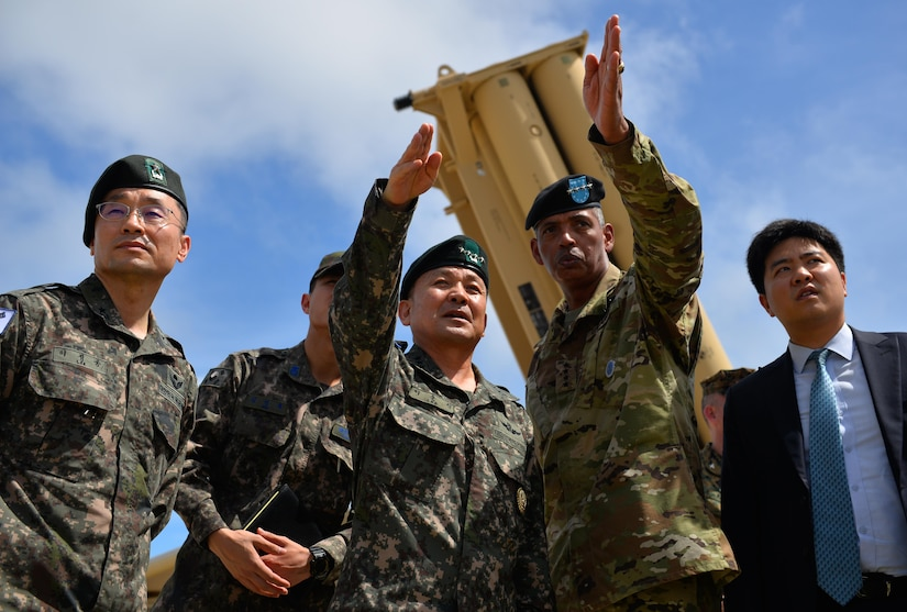 South Korean Chairman of the Joint Chiefs of Staff Gen. Sun Jin Lee visits the site of Guam's Terminal High Altitude Area Defense missile defense system with U.S. Army Gen. Vincent K. Brooks, commander of the combined U.S. forces in South Korea, Nov. 1, 2016. South Korea will soon complete a land transfer critical to the placement of a THAAD system about 135 miles southeast of Seoul. Air Force photo by Staff Sgt. Alexander W. Riedel