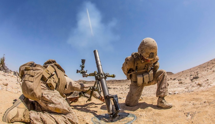 U.S. Marines with Weapons Company, Battalion Landing Team 1st Bn., 4th Marines, 11th Marine Expeditionary Unit, fire  an M224 60mm mortar system during a live-fire range as part of Exercise Sea Soldier, Feb. 21. Sea Soldier 2017 is an annual, bilateral exercise conducted with the Royal Army of Oman designed to demonstrate the cooperative skill and will of U.S. and partner nations to work together in maintaining regional stability and security. The 11th MEU is deployed in the U.S. 5th Fleet area of operations in support of maritime security operations designed to reassure allies and partners, preserve the freedom of navigation and the free flow of commerce and enhance regional stability.