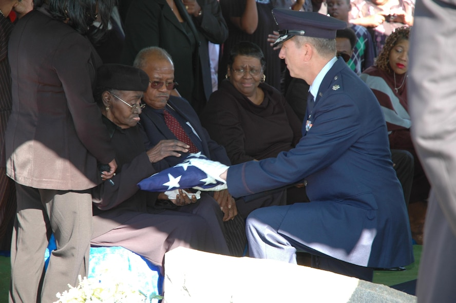 Flag being presented to aunt Daisy Pearl Durrah, Conner's closest living relative. Many came out to honor and salute Conner along the route from Hartsfield Airport in Atlanta to his final resting place in Cartersville, Georgia. (Courtesy photo)