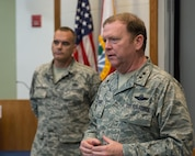 Tenth Air Force Commander, Maj. Gen. Richard Scobee, and Tenth Air Force Command Chief Master Sgt., Chief Master Sgt. Thomas Brandhuber, traveled to Homestead Air Reserve Base, Fla. to meet with the commanders and command chiefs of Tenth Air Force wings, groups and geographically separated units.
