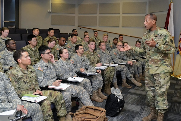 Army Brig. Gen. Charles Hamilton, Defense Logistics Agency Troop Support commander, speaks to ROTC cadets at Rutgers University, New Brunswick, N.J., Feb. 23. He advised the cadets that to be successful, officers must ensure their units are highly fit, highly trained and highly disciplined.