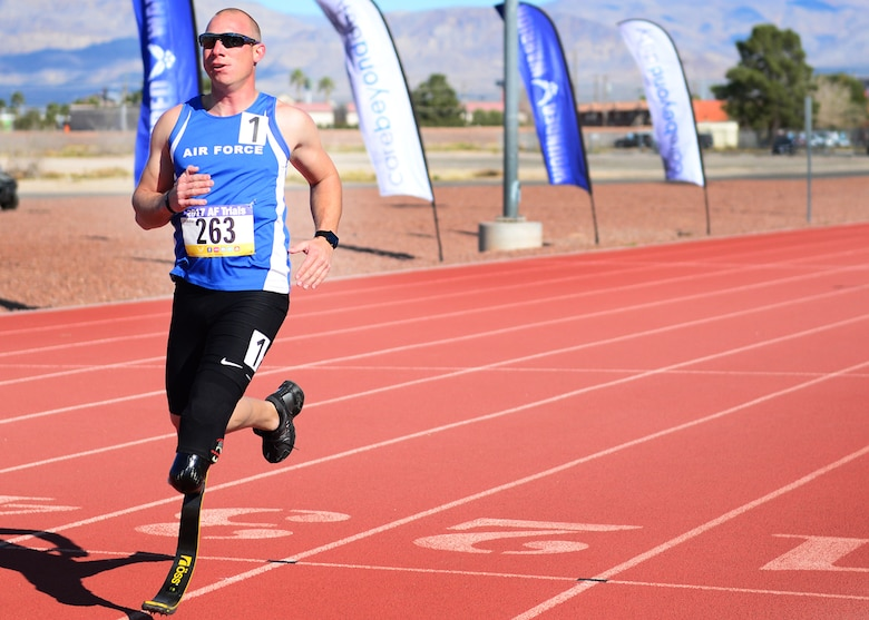 U.S. Air Force Tech. Sgt. Ben Seekell, 2017 AF Trials competitor, finishes the 1,500 meter run during Track and Field qualifications at the Warrior Fitness Center Feb. 28, 2017 at Nellis Air Force Base, Nev. Despite losing a leg during a 2011 improvised explosive device attack in Afghanistan, Seekell claims to be stronger and faster than ever.  (U.S. Air Force photo by Senior Airman Chip Pons)