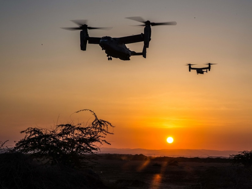 MV-22 Ospreys approach a landing zone during a training exercise conducted in Djibouti, Jan. 10, 2017. Ospreys have the ability to transport Marines and sailors quickly to the battlefield due to their ability to tilt their rotors horizontally and fly like an airplane. The Ospreys and crew are with Marine Medium Tiltrotor Squadron 163 (Reinforced), 11th Marine Expeditionary Unit. Marine Corps photo by Lance Cpl. Brandon Maldonado