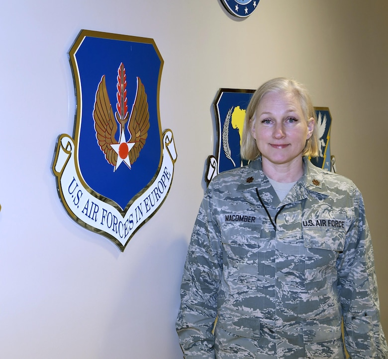 Maj. Macomber, 217th Air Operations Group, poses for her Guardsman of the Month Photo